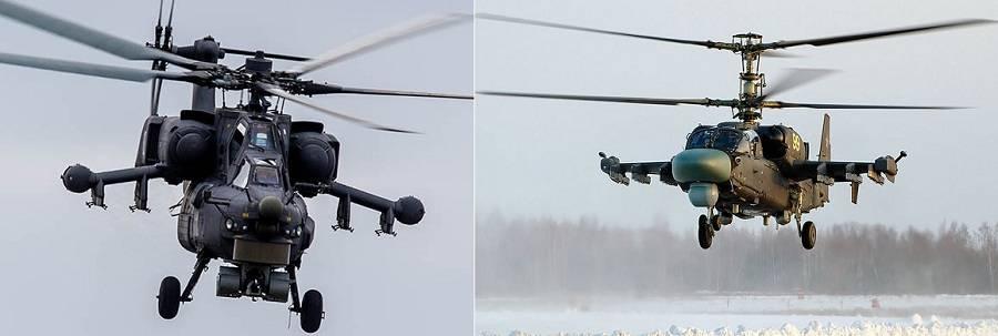 Ми-28Н (слева) и Ка-52 (справа)