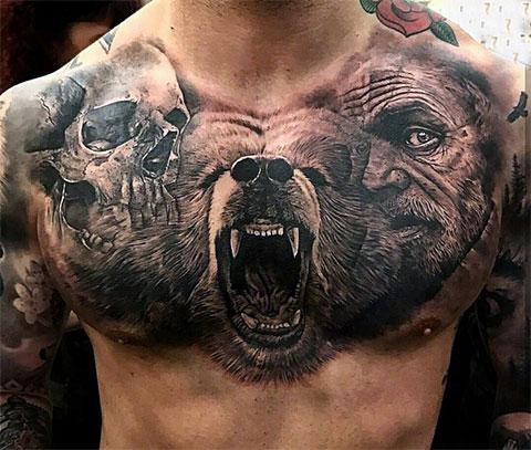 Татуировка: череп-медведь-человек
