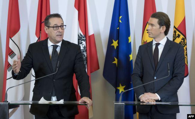 Канцлер Австрии Себастьян Курц (справа) и его заместитель Хайнц-Кристиан Штрахе вскоре после прихода к власти осенью 2017 года