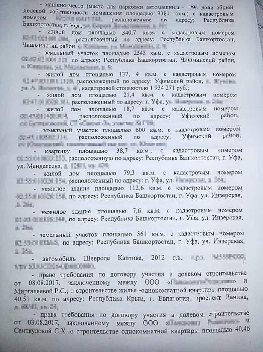 Имущество Миргалеева